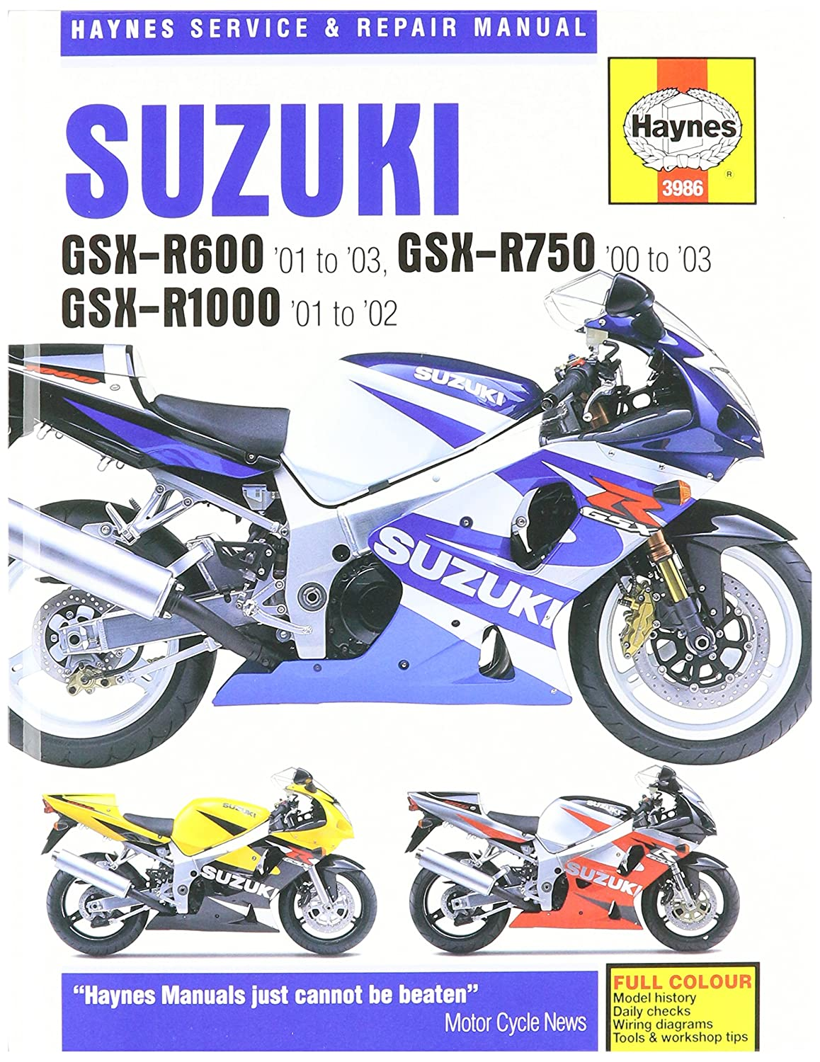 Amazon.com: 01-03 SUZUKI GSXR600: Haynes Repair Manual (MISC): Automotive