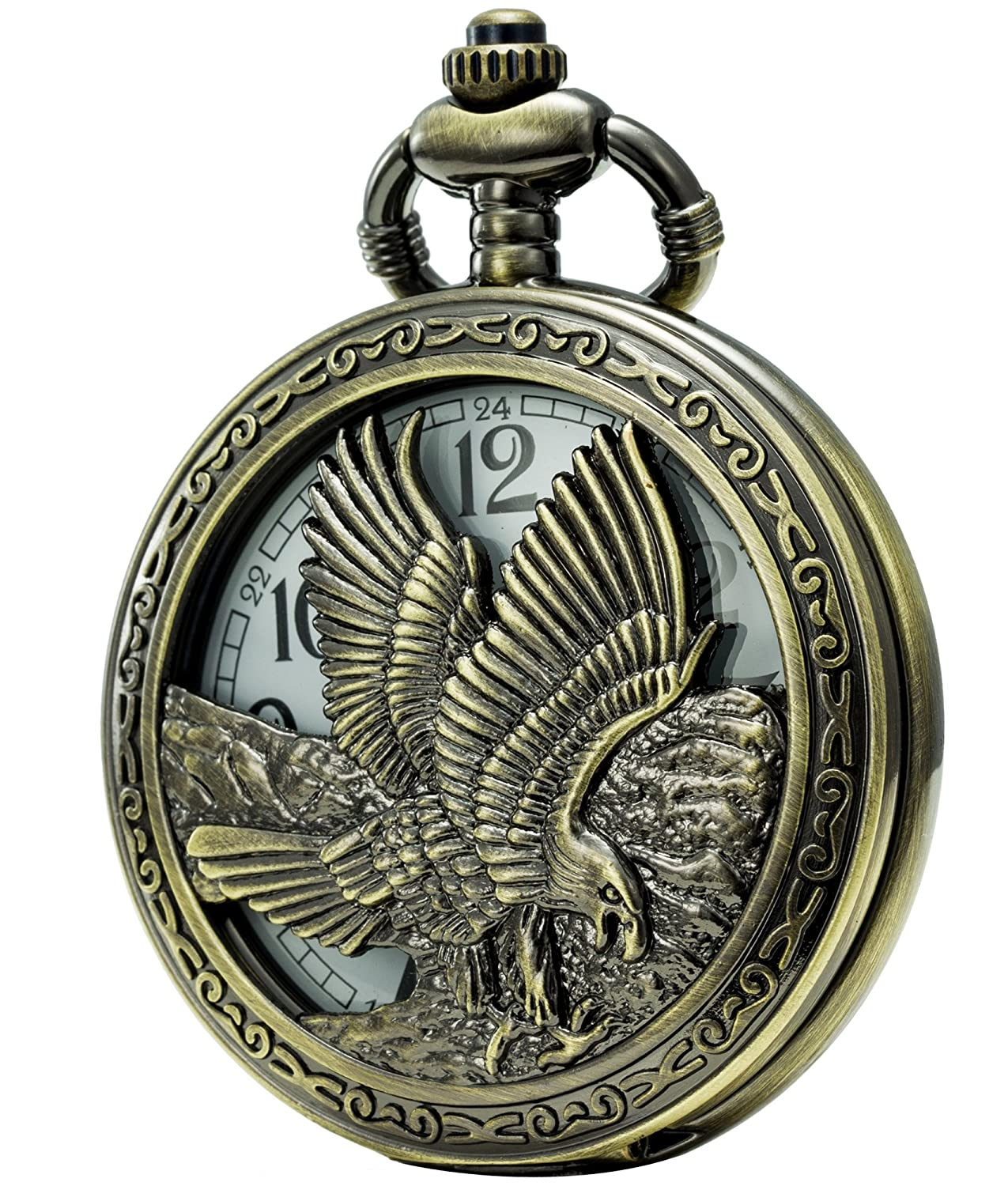 SEWOR Retro Quartz Pocket Watch White Dial Bronze Case with Two Chains Leather Metal