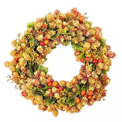 Artificial Wreath Of Hops Orange O 24 60 Cm Plastic Hops