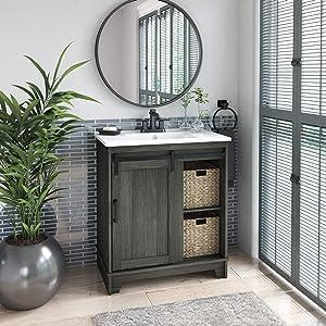 "Pamari Cassara 30"" Single Bathroom Vanity with Sliding Barn Door and White Sink, Geneva Oak"