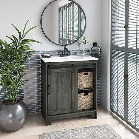 Amazon Com Pamari Cassara 30 Single Bathroom Vanity With Sliding Barn Door And White Sink Geneva Oak Home Kitchen