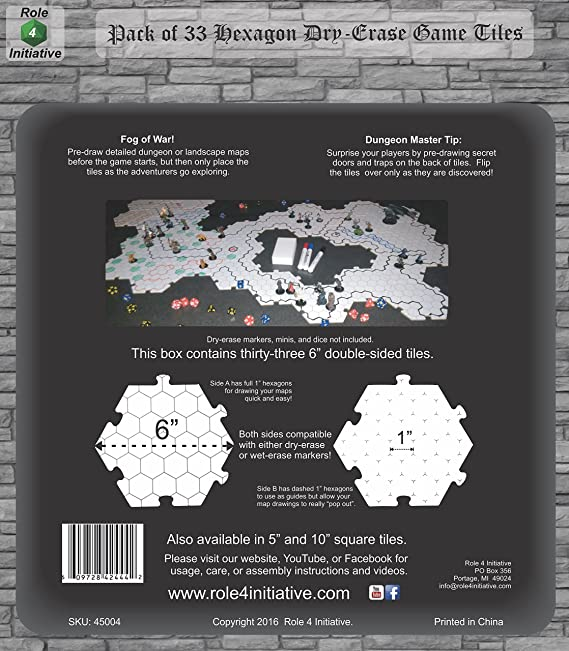 Role 4 Initiative Dry Erase Hexagon Dungeon Tiles - Pack of 33 Six Pat Catan World Map Laminated on