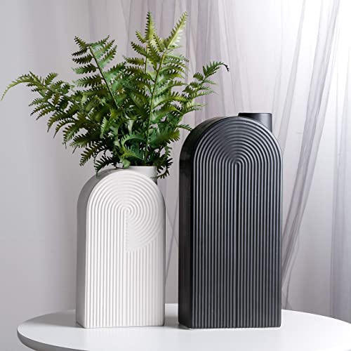 TERESA S COLLECTIONS Ceramic Modern Vase, Black and White Geometric Decorative Vases for Home Decor, Mantel, Table, Living Room, Office Decoration-Set of 2