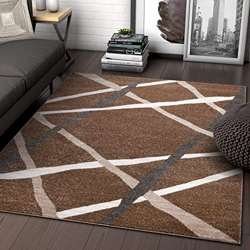Well Woven Traverse Stripes Brown Geometric Modern Lines Area Rug 5×7 5 3 x 7 3 Carpet