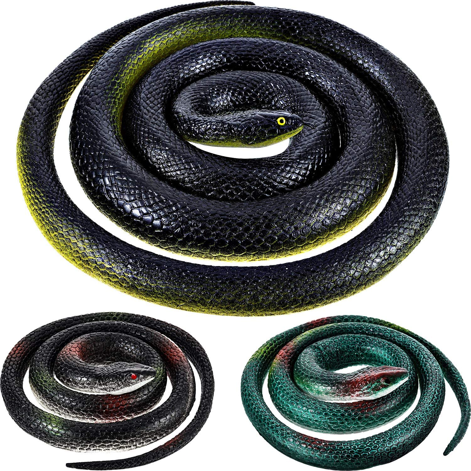3 Pieces Jumbo Large Rubber Snakes in 2 Sizes 53 Inches and 29 Inches, Fake Snake Black Mamba Snake Toys for Garden Props to Scare Birds, Pranks, Halloween Decoration