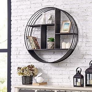 "FirsTime & Co. Brody Industrial Circular Shelf, 27.5"" Diameter x 6"" Depth, Metallic Gray"