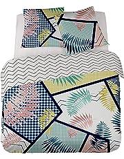 GINGHAM en soldes - Parure de lit pour 1 ou 2 personnes : Housse de couette 200x200 cm + Taies d'oreiller 65x65 cm