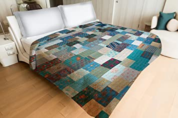 Patola Silk Turquoise Color Bedding Bedspread Coverlet Quilt Bed Cover | Turquoise Theme Silk Patola Kantha Hand Stitch Patchwork Quilt Bed Throw (220 cm x 270 cm) by Handicraft-Palace