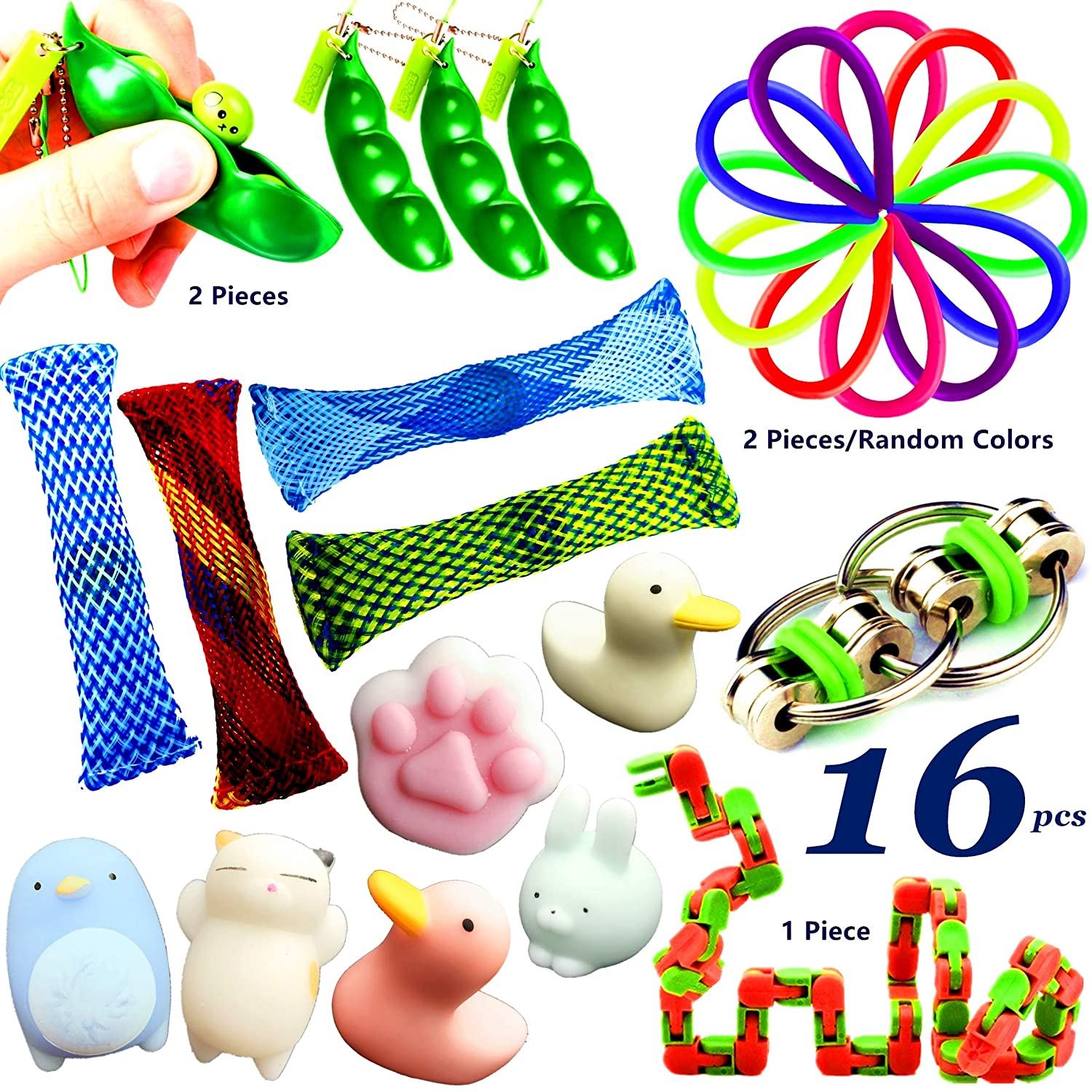 16pcs Fidget Toys for Sensory Kids, Sensory Toys for Autistic Children, Goodie Bag Fillers Stress Relief Toys Assortment & Squeeze Therapy Sensory Fidget Toys for Adults, ADHD Anxiety Autism KizFun