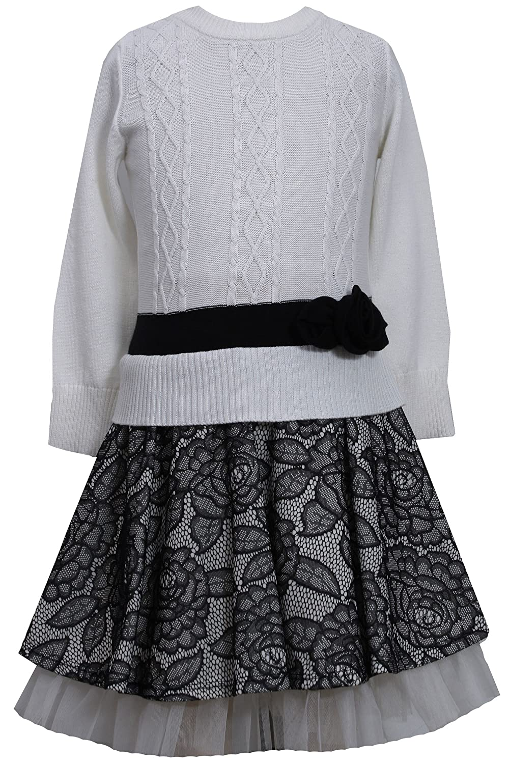 76bb2493d224 Amazon.com: Bonnie Jean Girls White Sweater & Lace Skirt Holiday Dress, 6:  Clothing