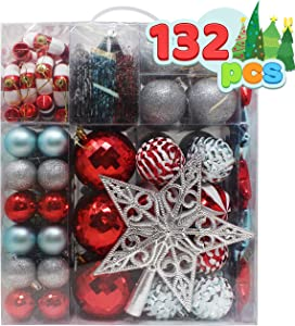 Joiedomi 132 Pcs Red, Blue, and Silver Christmas Assorted Ornaments with a Silver Star Tree Topper, Shatterproof Christmas Ornaments for Holidays, Party Decoration, Tree Ornaments, and Events