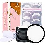 16 Black/White Reusable Makeup Remover Pads | Reusable Cotton Rounds for Toner | Reusable Cotton Pads for Face | Bamboo Reusable Makeup Pads | Reusable Face Pads for Toner + Spa Headband & Laundry Bag