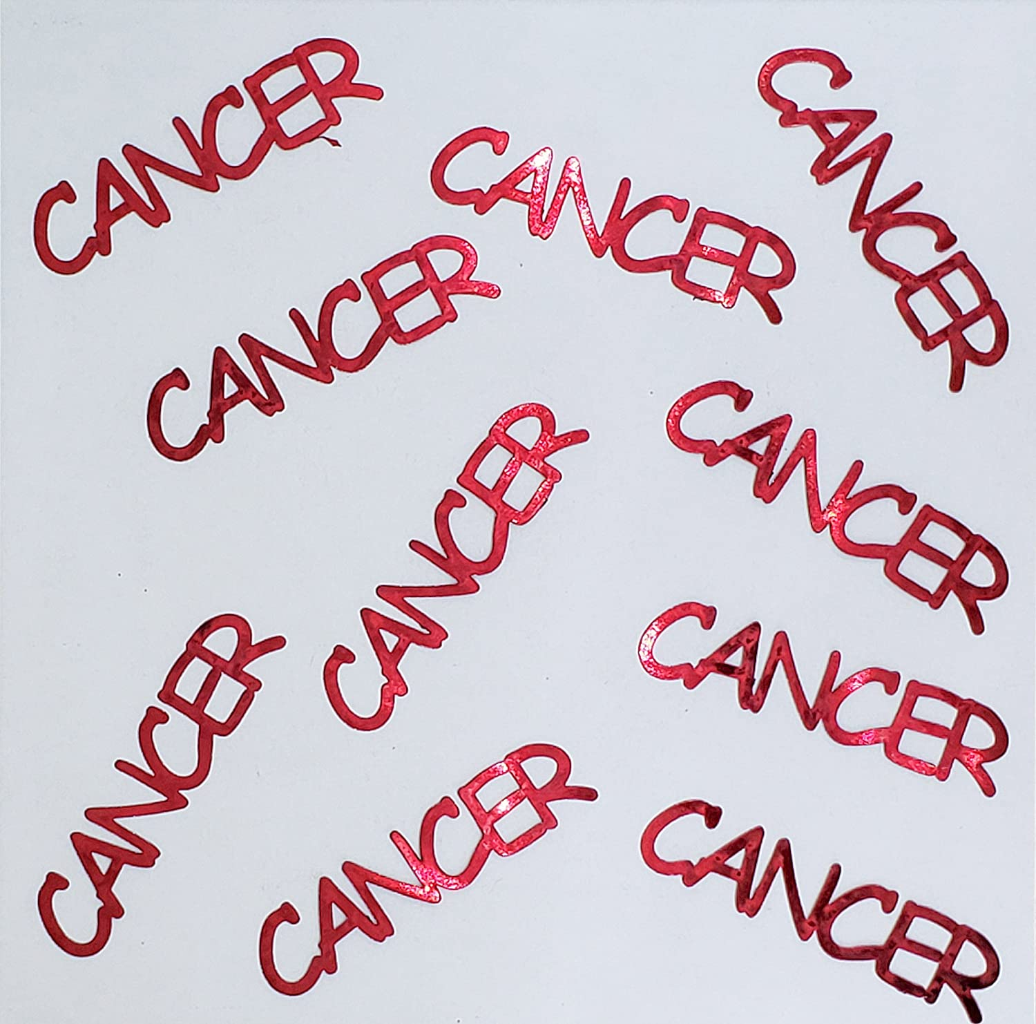 Metallic Confetti Word CANCER in 12 Colors #4140 Also Available in Paper