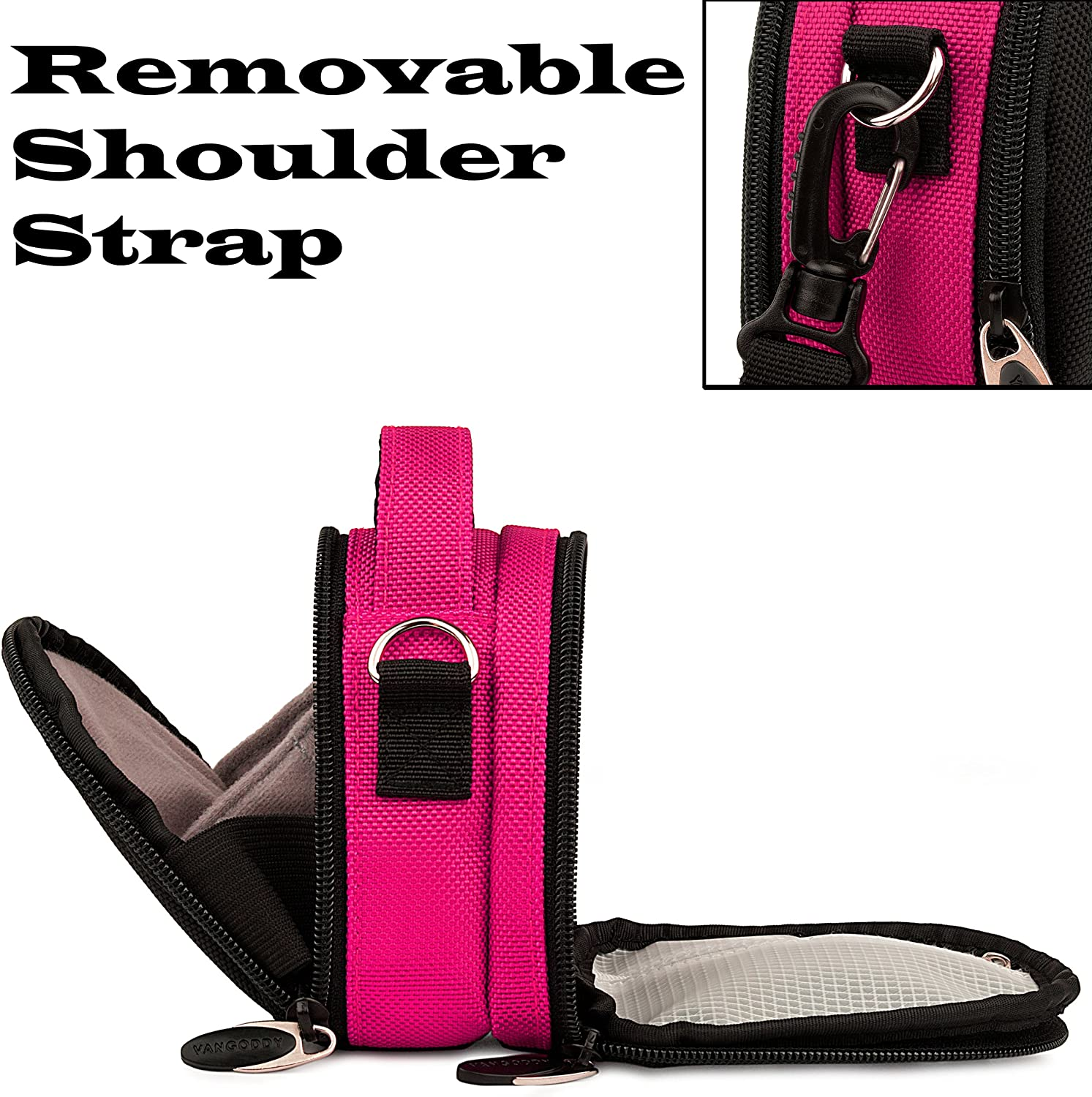 TS FH for Panasonic Lumix DMC ZS Point and Shoot Camera and Screen Protector and Mini Tripod Mini Travel Shoulder Bag Carrying Case SZ1 Pink