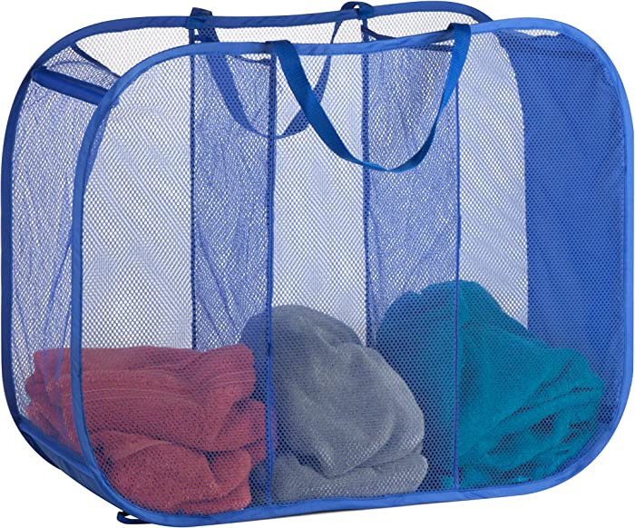 "Honey-Can-Do Mesh Triple Sorter Laundry Basket, 30"" Length x 11"" Width x 24"" Height, Blue"