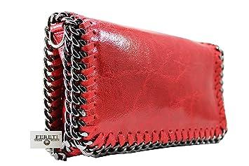 3fcd46c8f6 FERETI sac à main Rouge Pochette cuir bandoulière pour femme chaîne ...