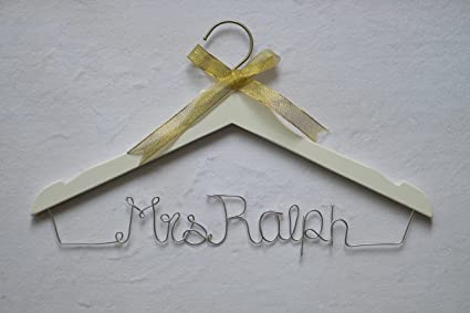98b60721d3 Wedding Hangers Personalised Name Wedding Dress Hanger Mrs for Bride  Bridesmaid Wire Wedding Dress Hangers