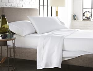 Westbrooke Linens 400 Thread Count 100% Long-Staple Cotton Pleated Hem Sheet Set, Solid Sateen Weave, Wrinkle Free, Elastic Deep Pocket, Hotel Collection, Luxury Bedding Sheet Set (Queen, White)
