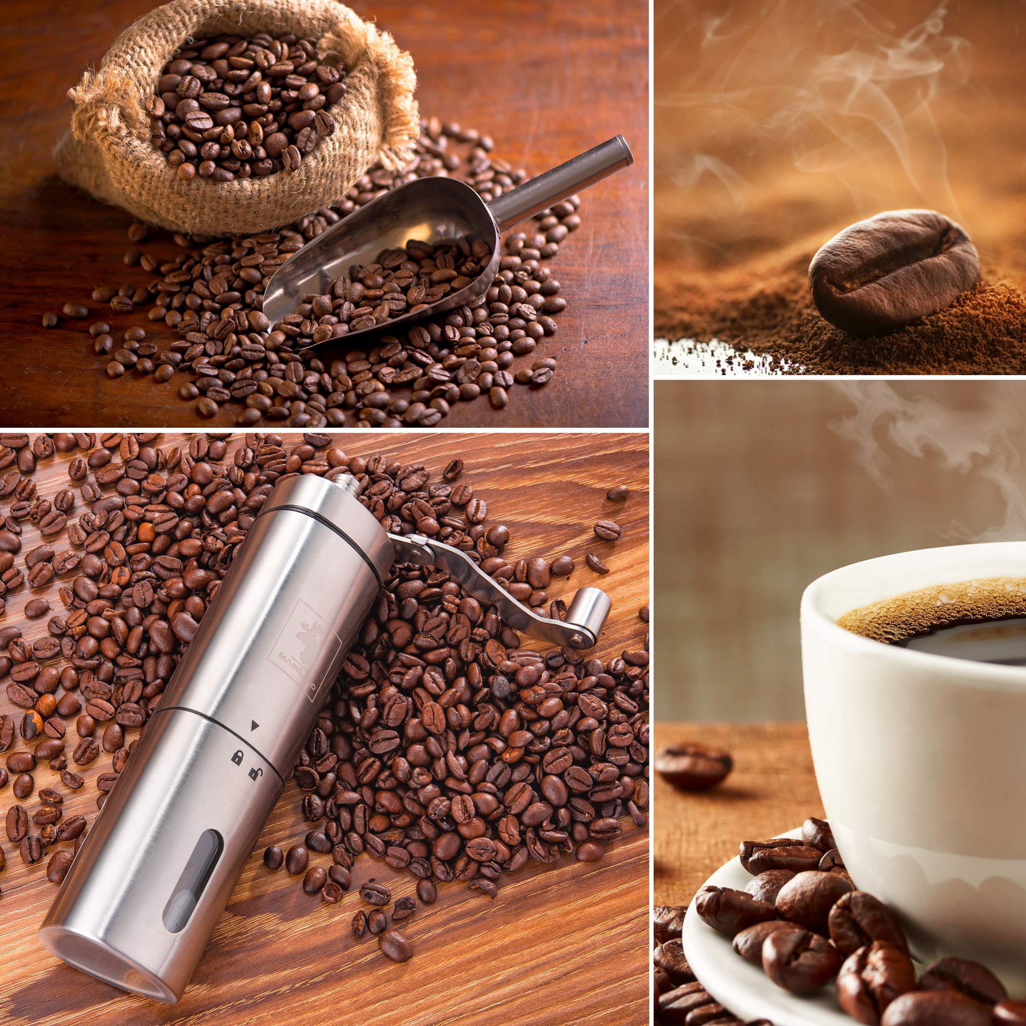Manual Coffee Grinder by Mainland (Hand Held) Adjustable Fine, Medium, Coarse Grounds | Ceramic Burr Mill for Whole Bean Grinding | Home Kitchen, Office, Travel by Mainland (Image #7)