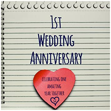 3dRose Db 154428 2 1St Wedding Anniversary Gift Paper Celebrating 1 Year Together First Anniversaries One Yr Memory