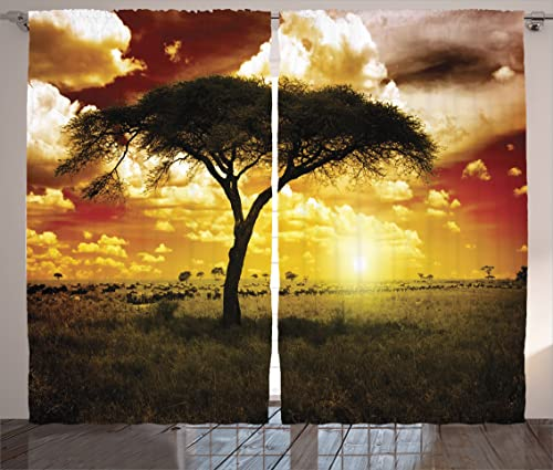 Ambesonne Safari Curtains, Single Tree at Dreamy Sunset Dark Dramatic Clouds on The Sky Art, Living Room Bedroom Window Drapes 2 Panel Set, 108 X 84 , Green Red White