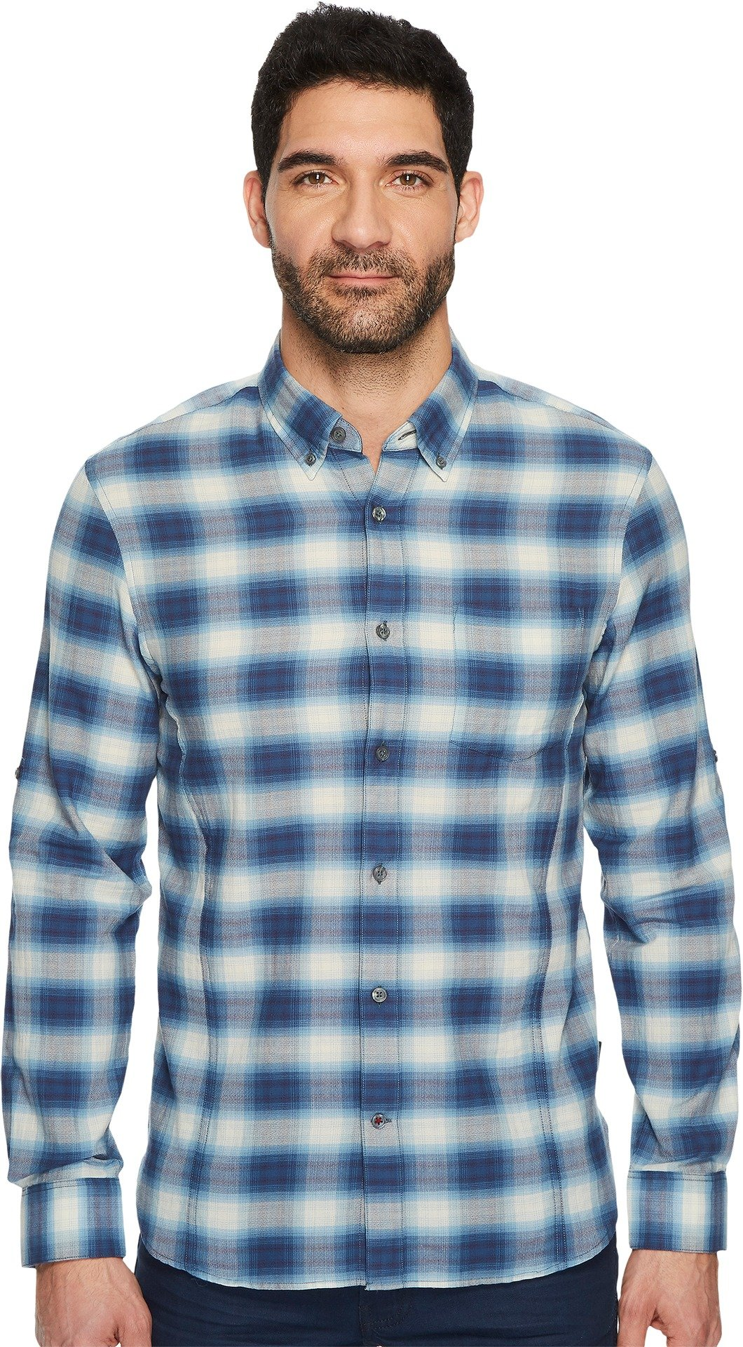 John Varvatos Star U.S.A. Men's Button Down Short Sleeve Roll-Up Shirt w/Single Pocket Sky Medium