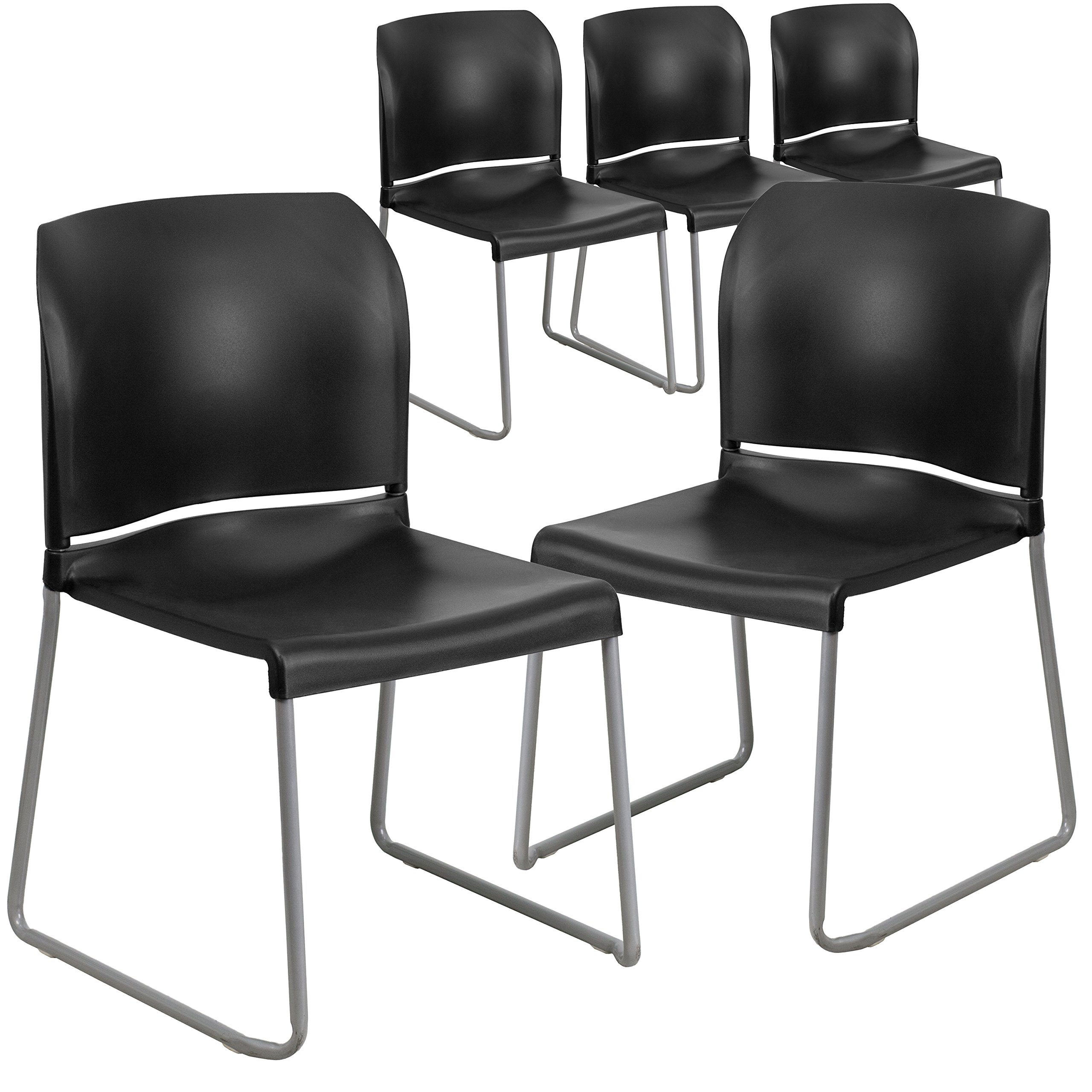 Flash Furniture 5 Pk. HERCULES Series 880 lb. Capacity Black Full Back Contoured Stack Chair with Sled Base by Flash Furniture