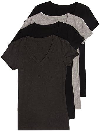 7fdc07baed6fa1 Amazon.com  4 Pack Zenana Women s Basic V-Neck T-Shirts  Clothing