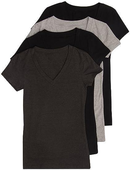 9cd676c7388 Amazon.com  4 Pack Zenana Women s Basic V-Neck T-Shirts  Clothing