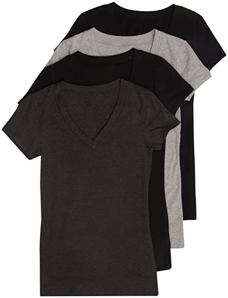 0569fd6a 4 Pack Zenana Women's Basic V-Neck Tee Small Black, Black, Charcoal,