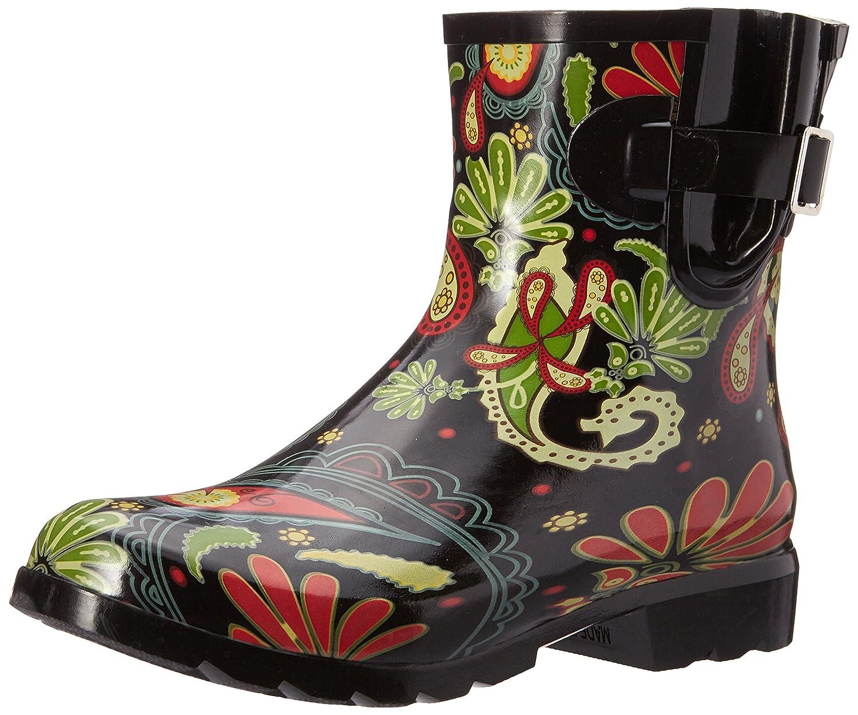 Black Paisley Nomad Women's Droplet Rain Boot