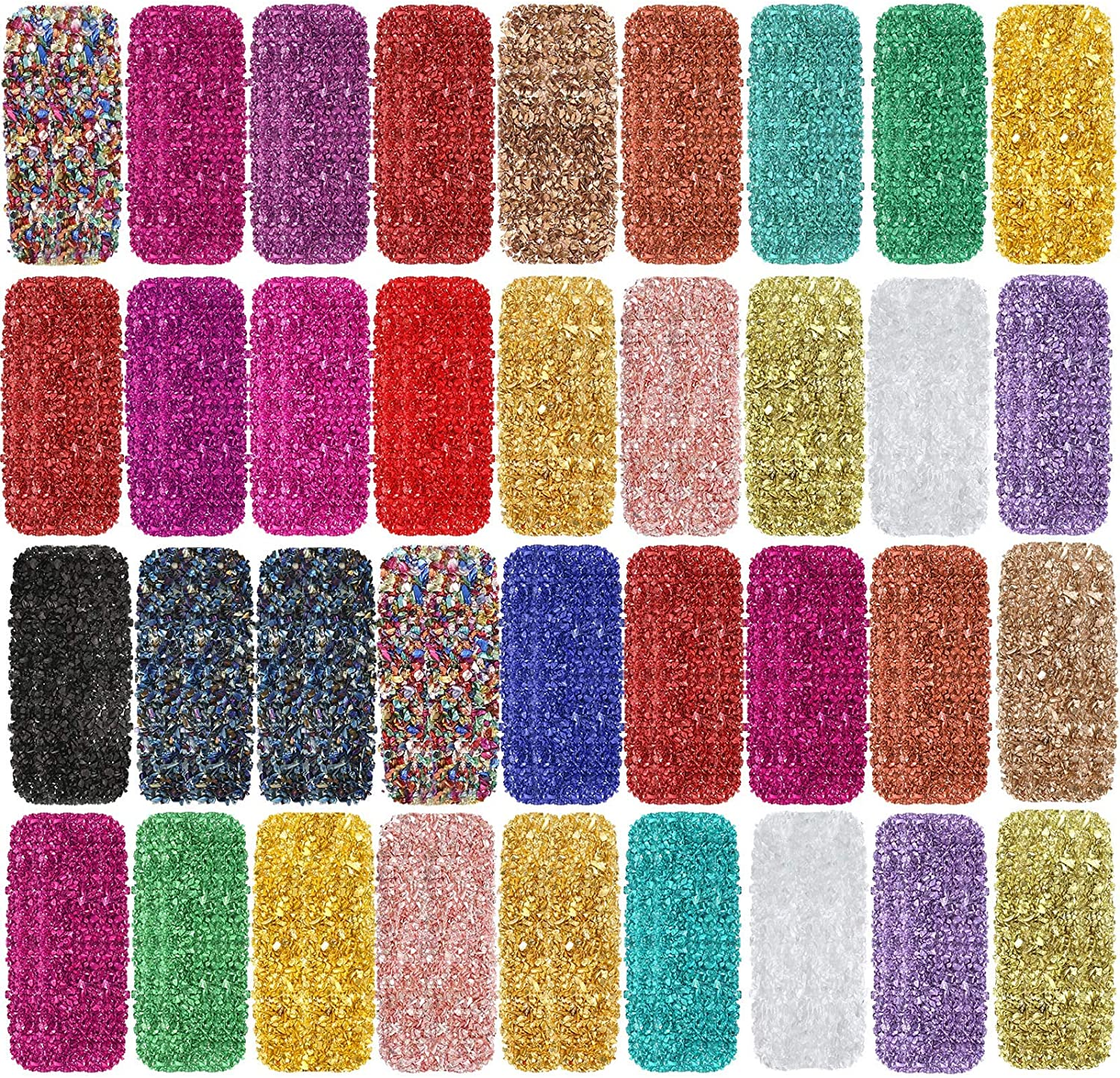 36 Pieces Crushed Glass Irregular Glass Sequins Crushed Glass Chips for Nail Art Decoration, Resin Mold, Handmade Crafts, Phone Case Making, Scrapbooking, Jewelry Making, 36 Colors
