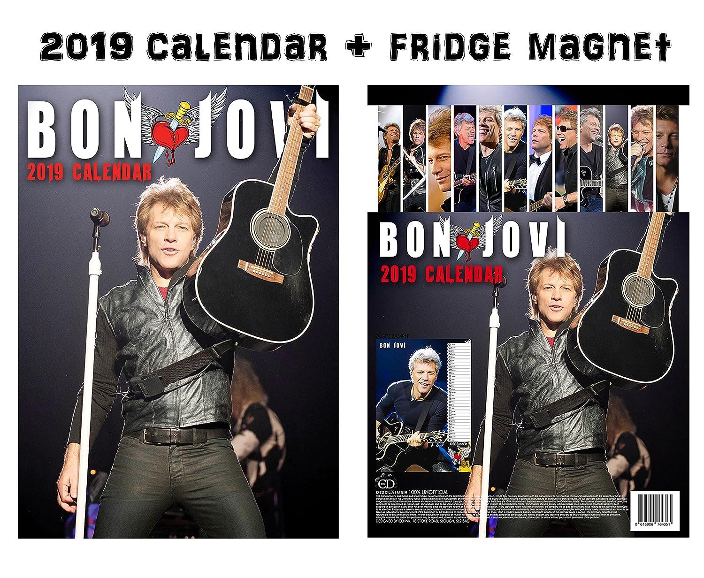 Bon Jovi Calendar 2019 + Bon Jovi Refrigerator Magnet OC CALENDAR