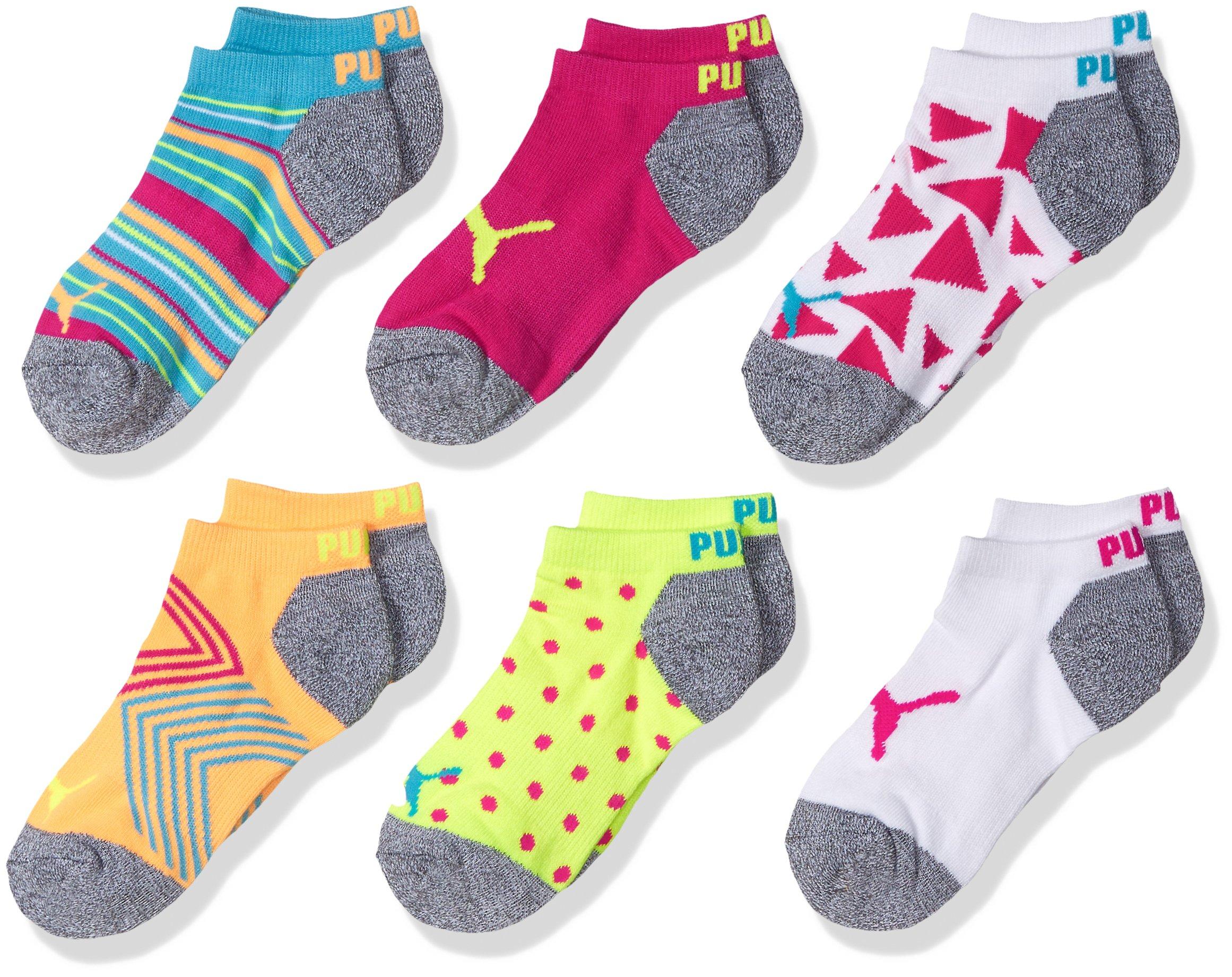 PUMA Little Girls' 6 Pack Low Cut Socks, bright yellow/multi, 7-8.5 by PUMA