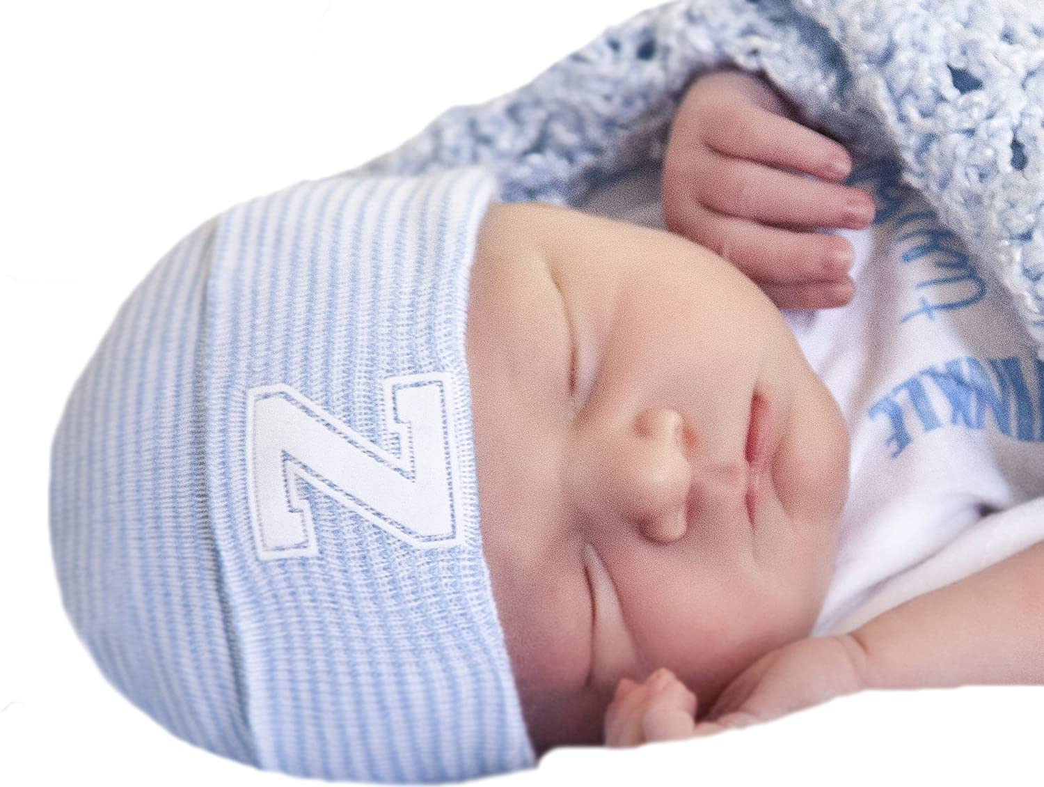 7803631338b6c Amazon.com  Melondipity s Newborn Boy Blue   White Striped Hospital Hat  with White Flocked Collegiate Letter Inital (A)  Clothing