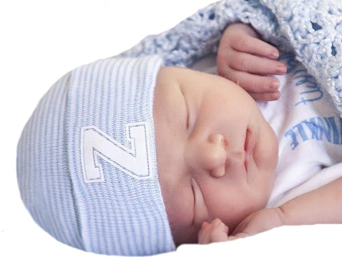 83e825c83d7 Melondipity s Newborn Boy Blue   White Striped Hospital Hat with White  Flocked Collegiate Letter Inital (