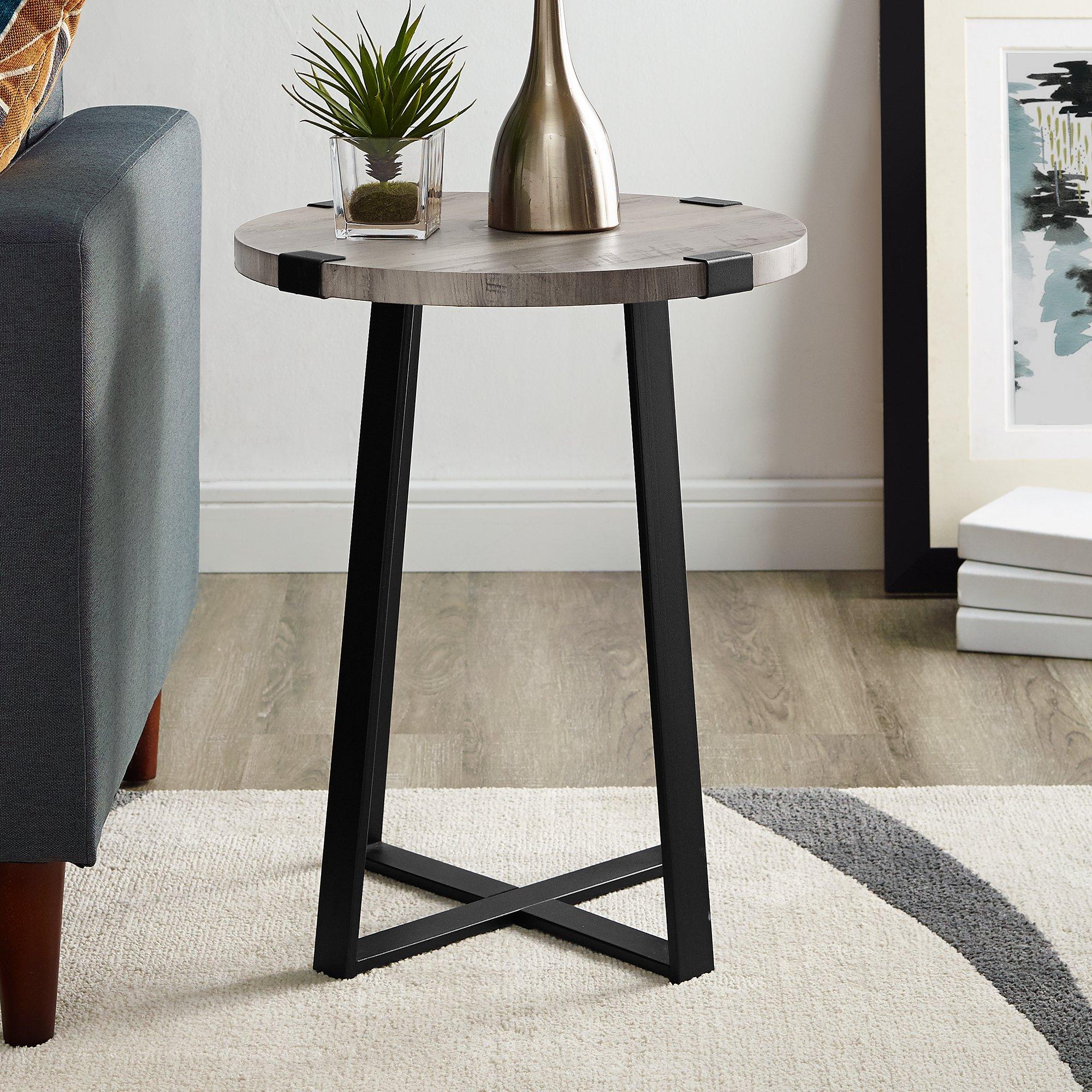 WE Furniture AZF18MWSTGW Side Table, Grey Wash