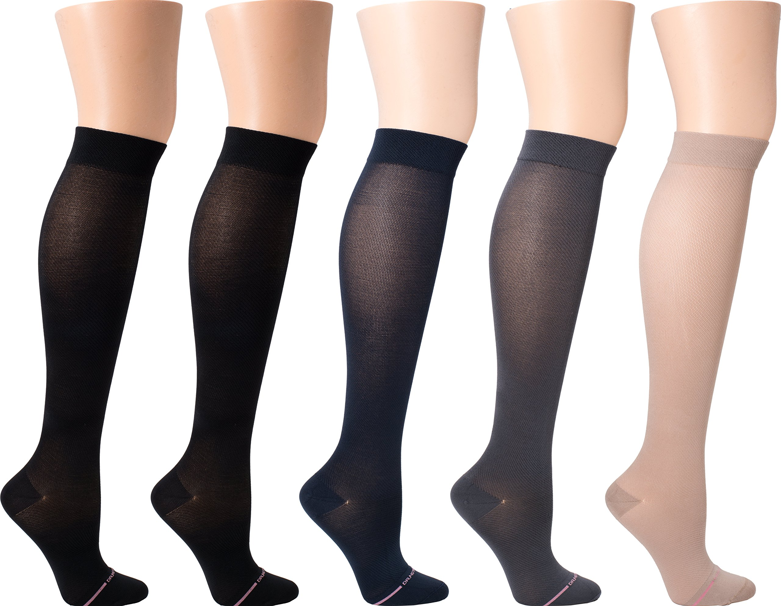 85d301b92 Dr. Motion Women s Compression Ultra Thin Liner Knee High Socks 5 pair pack  (Assorted