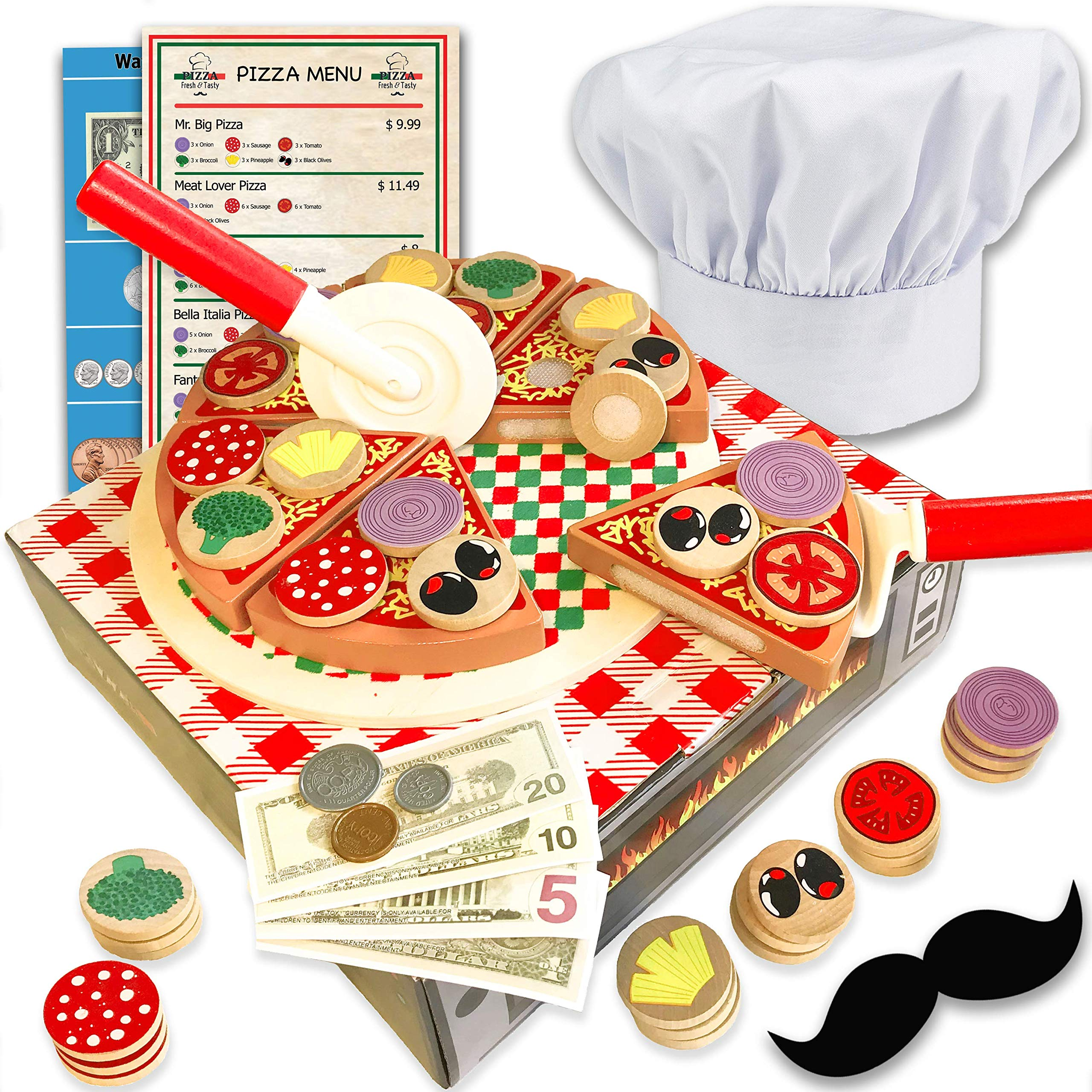 Wooden pizza toy for kids Pizza Play Food Set - Wooden play food sets for kids with chef hat (121 pcs) -Most Complete Kids Pizza Set Oven Toy & Sticky tab toppings - Pretend Play pizza set for kids by Jogo Jogo
