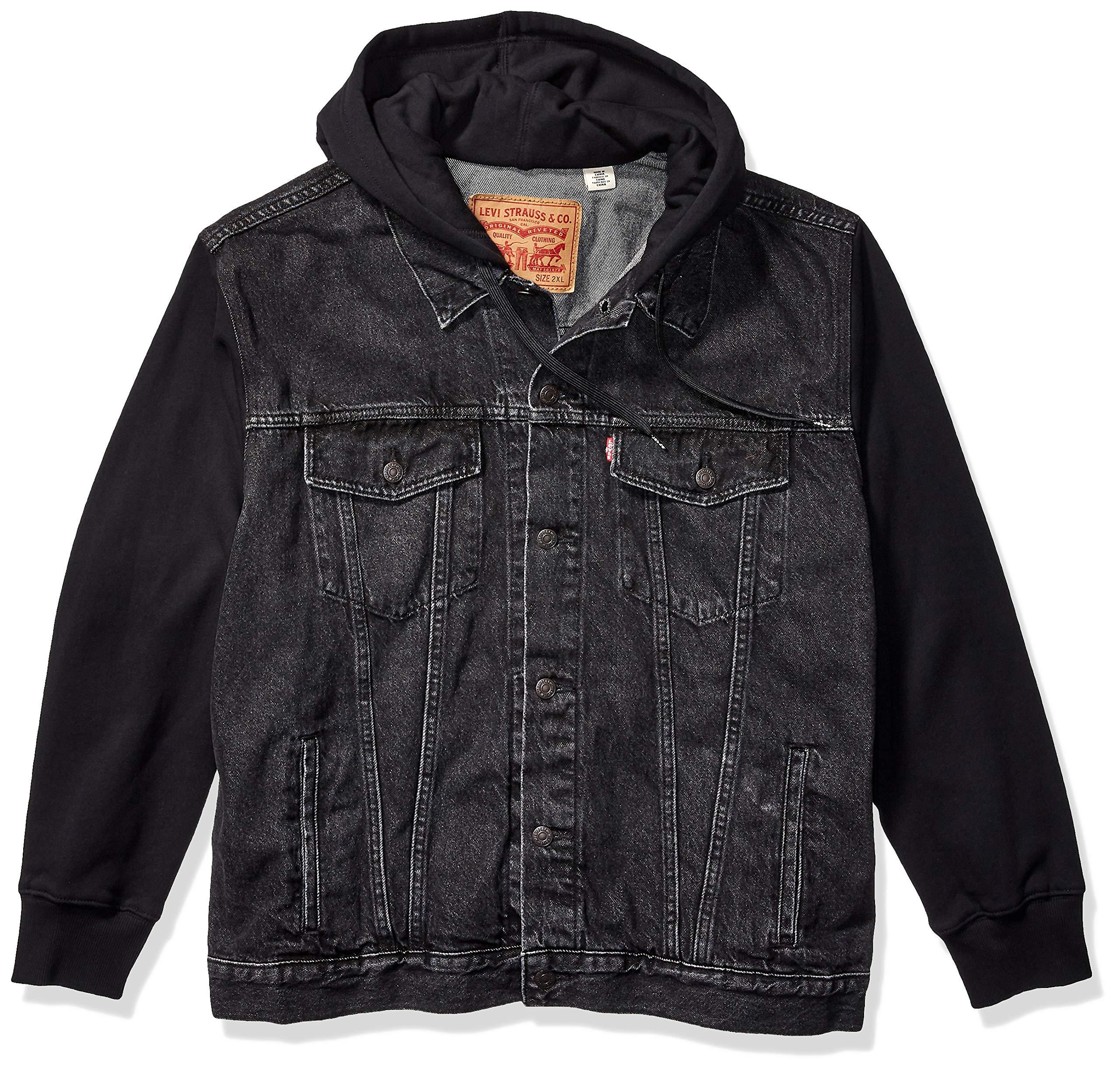 Levi's Men's Tall Big & Tall Hoodie Trucker Jacket-Big, Hood Up Black, 4XL by Levi's
