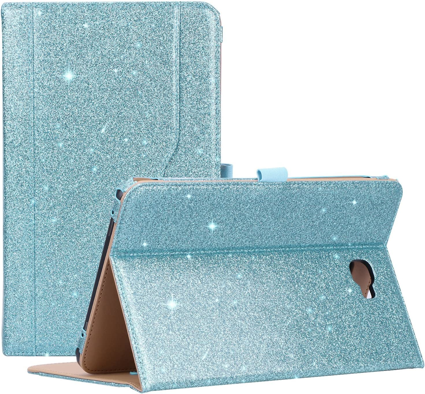 "ProCase Galaxy Tab A 10.1 Case 2016 Old Model, Stand Folio Case Cover for Galaxy Tab A 10.1"" Tablet SM-T580 T585 T587 (NO S Pen Version) with Multiple Viewing Angles, Card Pocket -Glitterblue"
