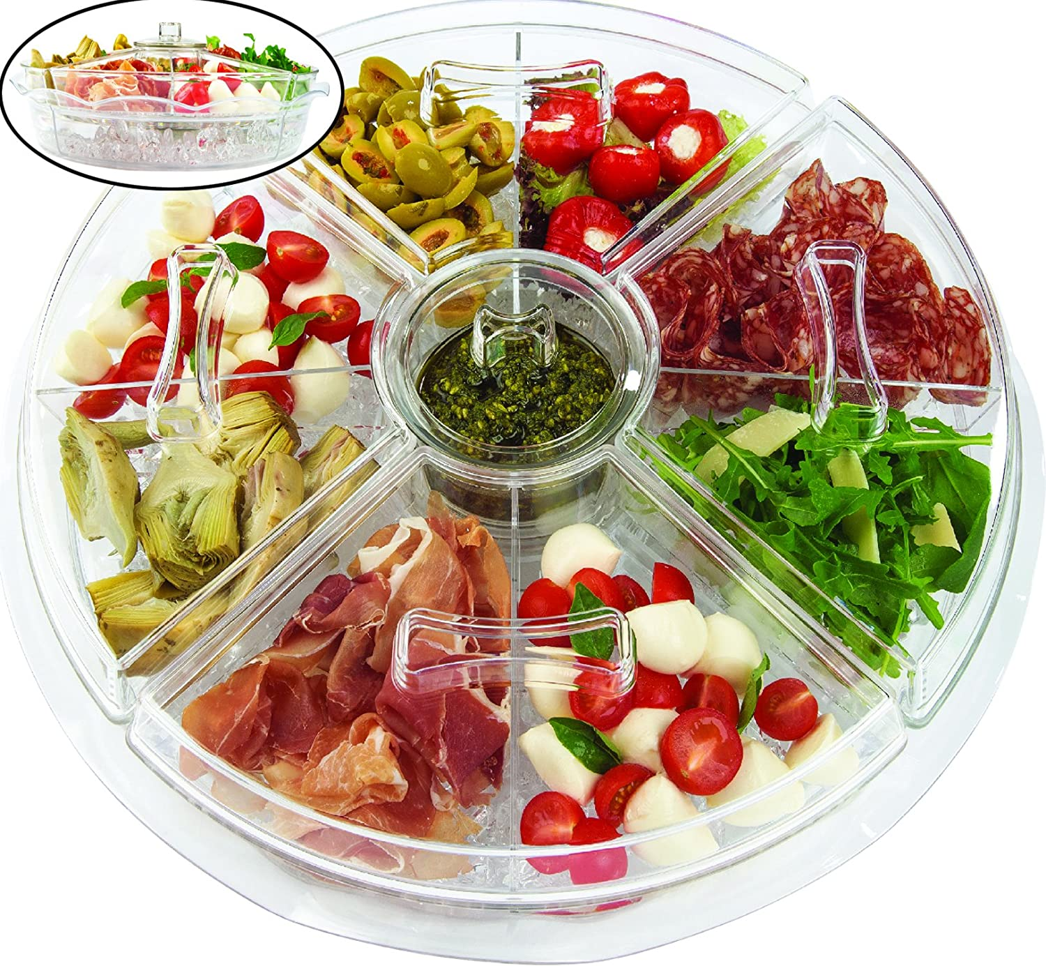 Amazon.com | Jumbl Appetizer Serving Tray with Lids | 4 Revolving Duel Cups-on-Ice Serving Trays  sc 1 st  Amazon.com : sectional tray - Sectionals, Sofas & Couches