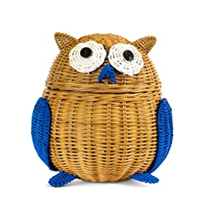 G6 COLLECTION Owl Rattan Storage Basket With Lid Decorative Home Decor Hand Woven Shelf Organizer Cute Handmade Handcrafted Gift Art Decoration Artwork Wicker Owl (Large, Brown)