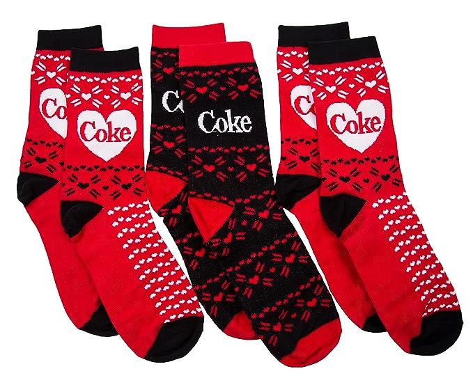 Coca-Cola 3pk rojo y negro de mujeres coque calcetines regalo: Amazon.es: Ropa y accesorios