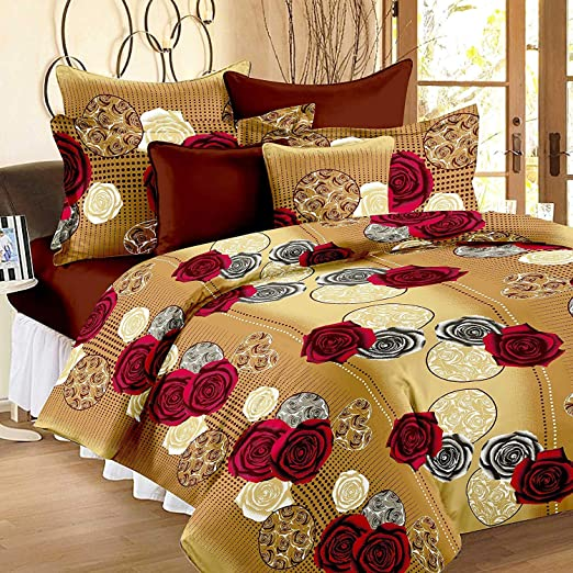 100/% Cotton Hand Printed Indian Double Tapestry Bedsheet with 2 Pillow Covers E