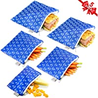 Reusable Sandwich Bags Snack Bags by Urban Green, Lunch Bags for kids, 5 pack, Food Storage Bags, Toiletry Makeup Bags, Food Wraps, Cable Travel Organizer, Accessory Bags (Blue Anchor)