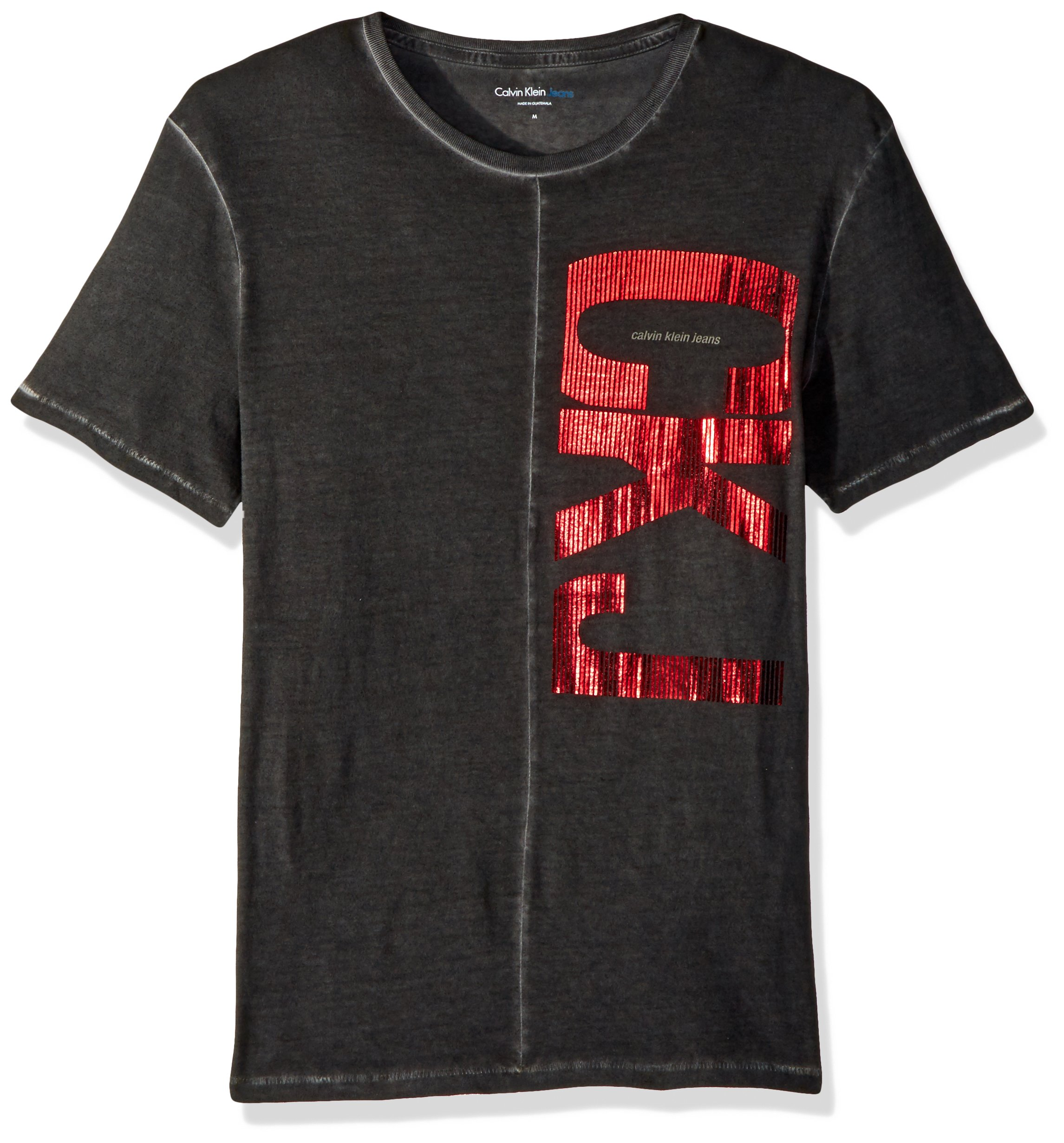 Calvin Klein Jeans Men's Short Sleeve Vertical CKJ Logo Crew Neck T-Shirt, Dark Shadow Large