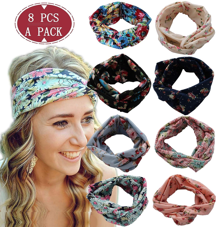 LOLIAS 8 Pack Headbands for Women Elastic Boho Flower Yoga Head Wrap Hair Band Soft L-FD001-8