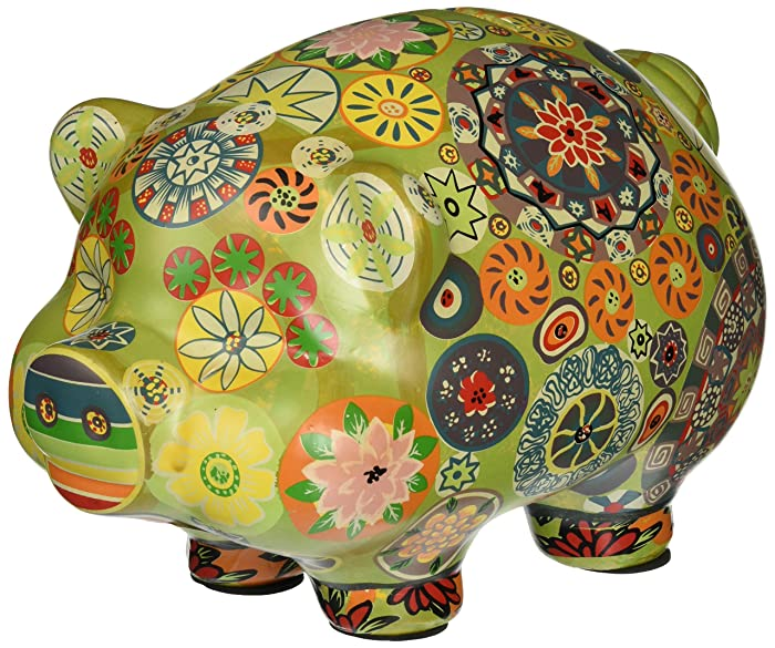 Ceramic Folkart Piggy Bank - Green