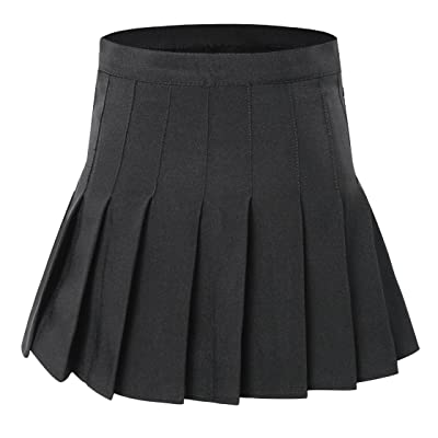 Tremour Women High Waist Pleated Mini Tennis Skirt Solid Short Skirts at Women's Clothing store